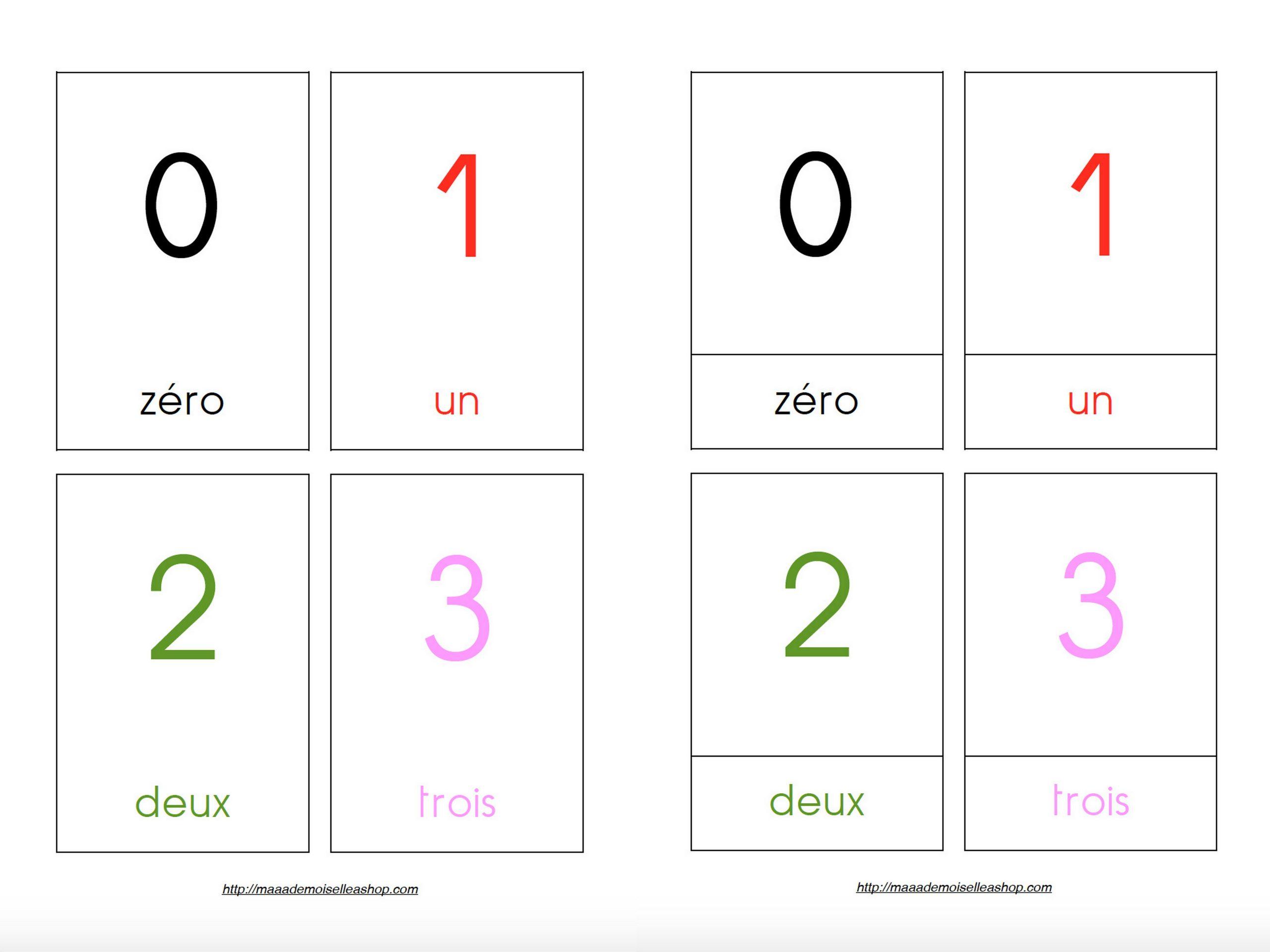 Cartes De Nomenclature - Chiffres (10 Cartes + Pochette De Rangement) à Chiffre A Decouper