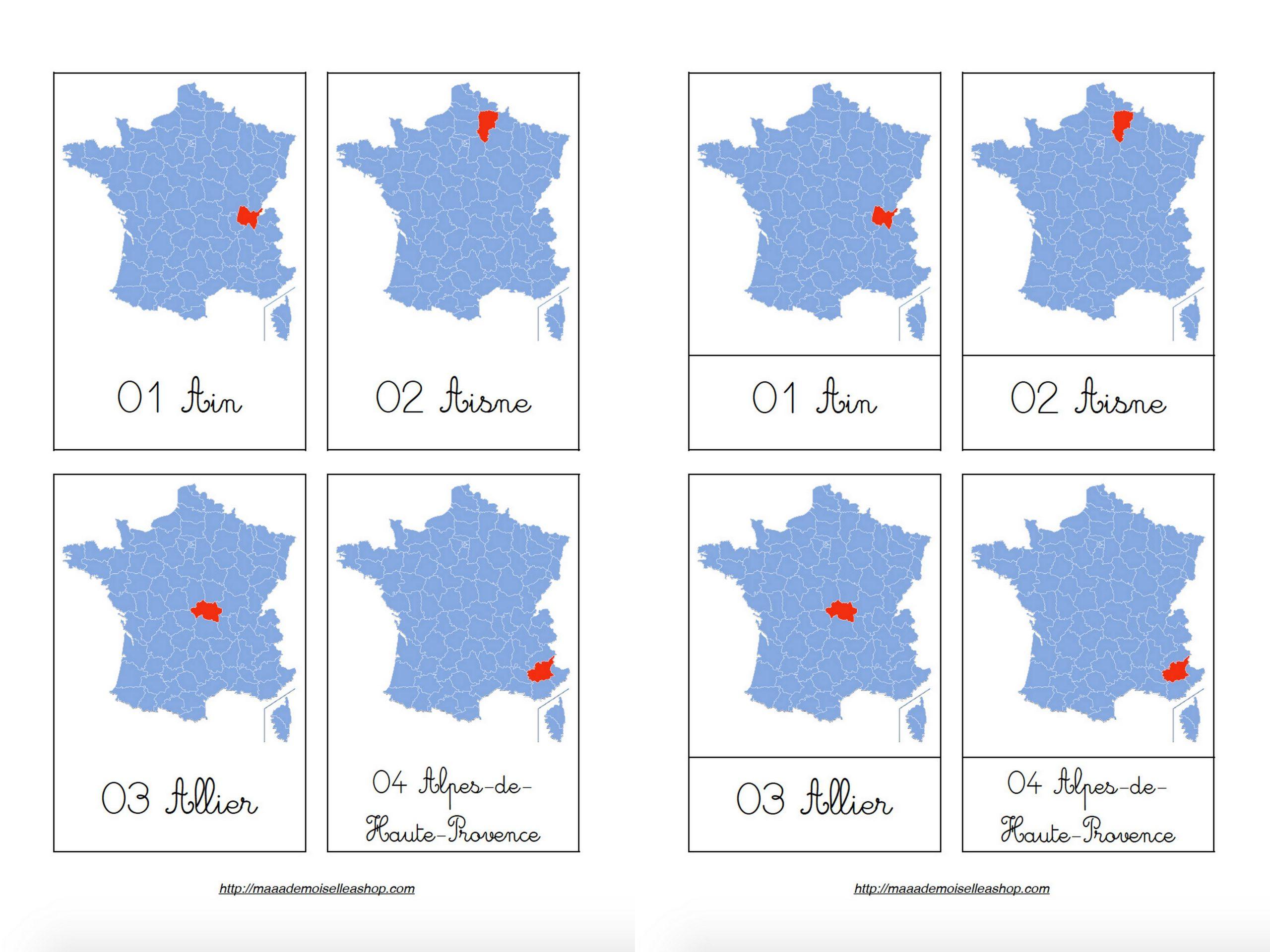 Cartes De Nomenclature - Départements Français (101 Cartes + Pochette De  Rangement) tout Carte Departements Francais
