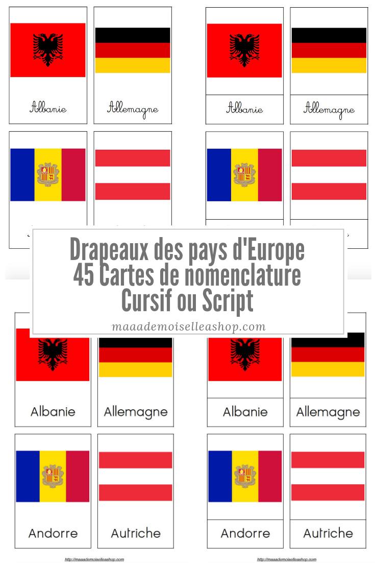 Cartes De Nomenclature - Drapeaux Des Pays D'europe (45 Cartes + Pochette  De Rangement) avec Drapeaux Européens À Imprimer