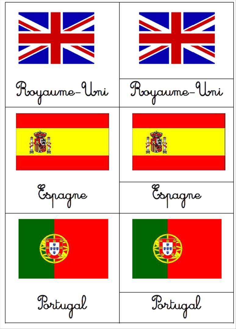 Cartes De Nomenclatures : Les Drapeaux | Matériaux De concernant Drapeaux Européens À Imprimer