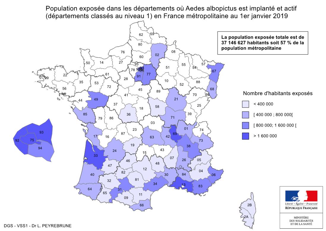 Cartes De Présence Du Moustique Tigre (Aedes Albopictus) En à Carte Numero Departement