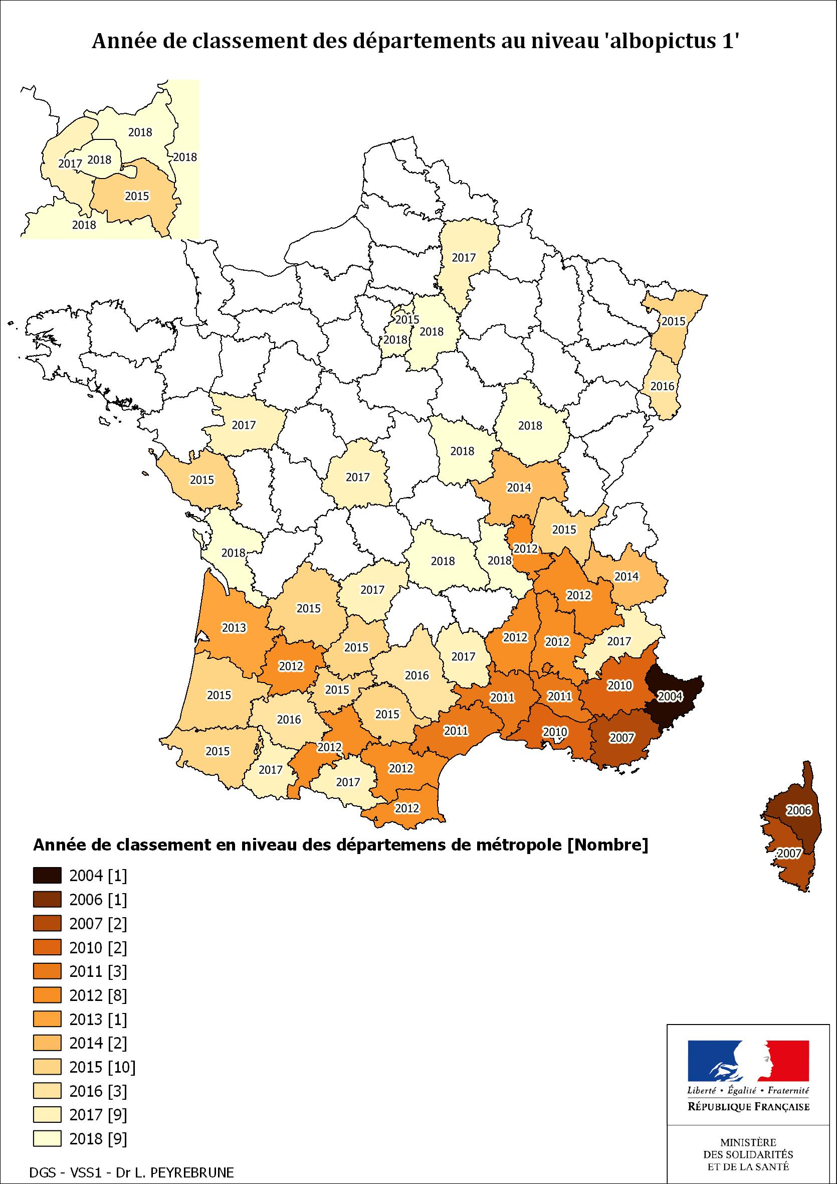 Cartes De Présence Du Moustique Tigre (Aedes Albopictus) En avec Carte Departements Francais