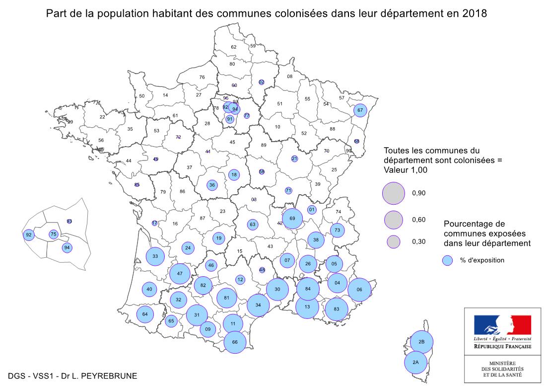 Cartes De Présence Du Moustique Tigre (Aedes Albopictus) En encequiconcerne Tableau Des Départements Français