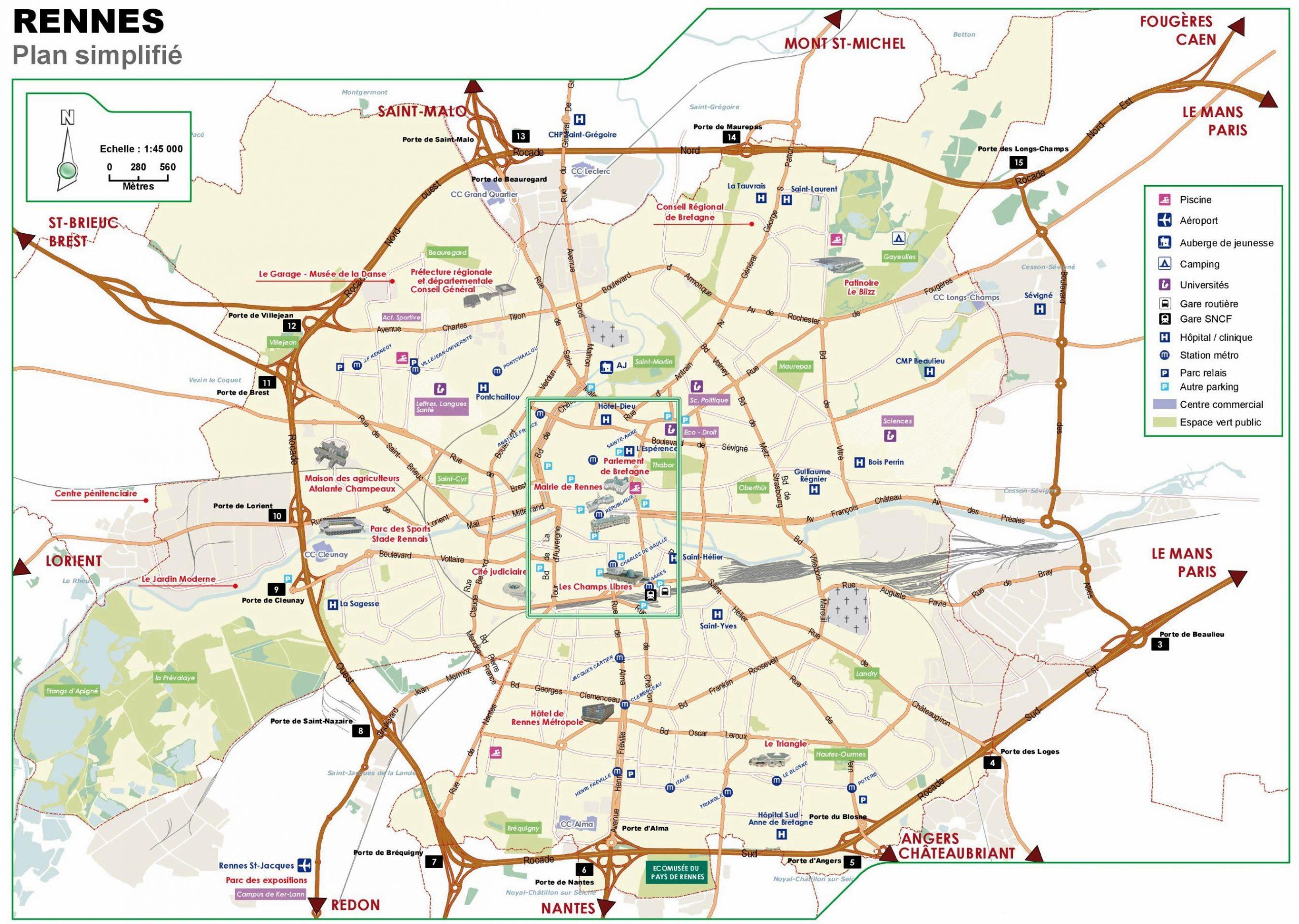 Cartes De Rennes | Cartes Typographiques Détaillées De intérieur Grande Carte De France À Imprimer