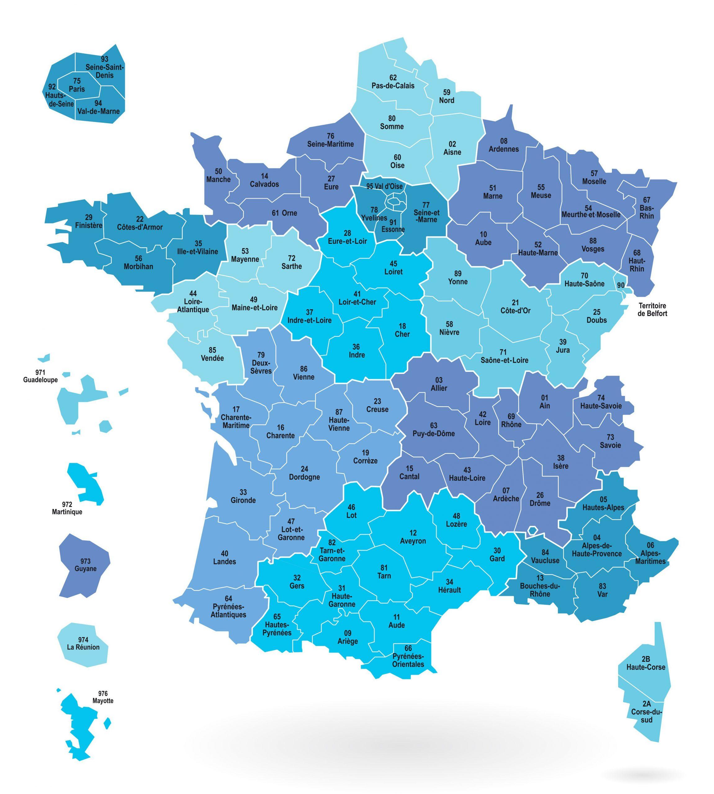 Cartes Des Départements Et Régions De La France - Cartes De pour Carte Départementale De La France