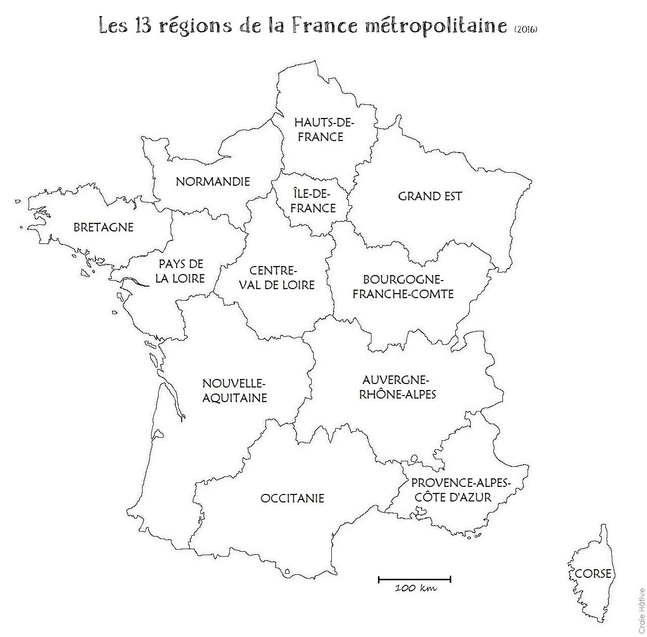 Cartes Des Régions De La France Métropolitaine - 2016 concernant Carte Vierge De France