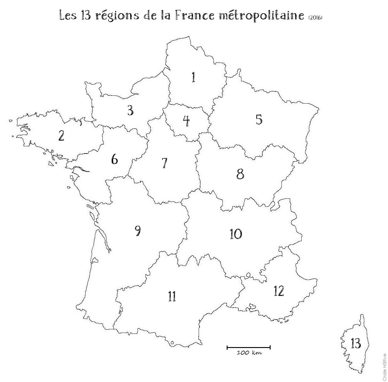 Cartes Des Régions De La France Métropolitaine - 2016 concernant Les 13 Régions