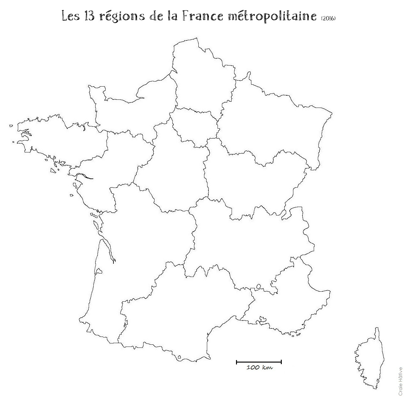 Cartes Des Régions De La France Métropolitaine - 2016 serapportantà Carte De France Numéro Département