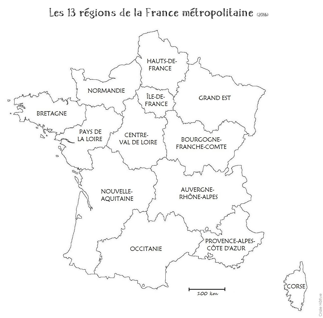 Cartes Des Régions De La France Métropolitaine - 2016 serapportantà Carte De France Vierge Nouvelles Régions