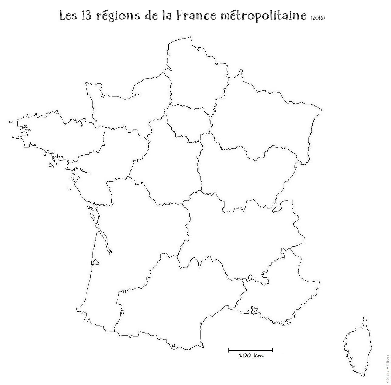 Cartes Des Régions De La France Métropolitaine - 2016 serapportantà Carte Région France Vierge