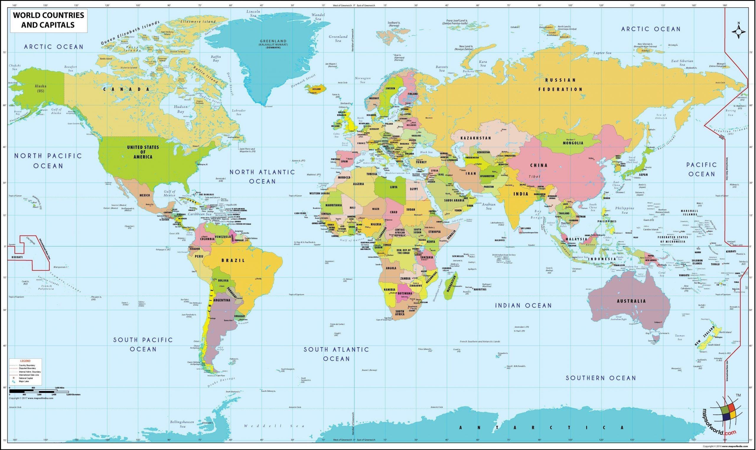 Cartes Du Monde pour Carte Du Monde Avec Capitale