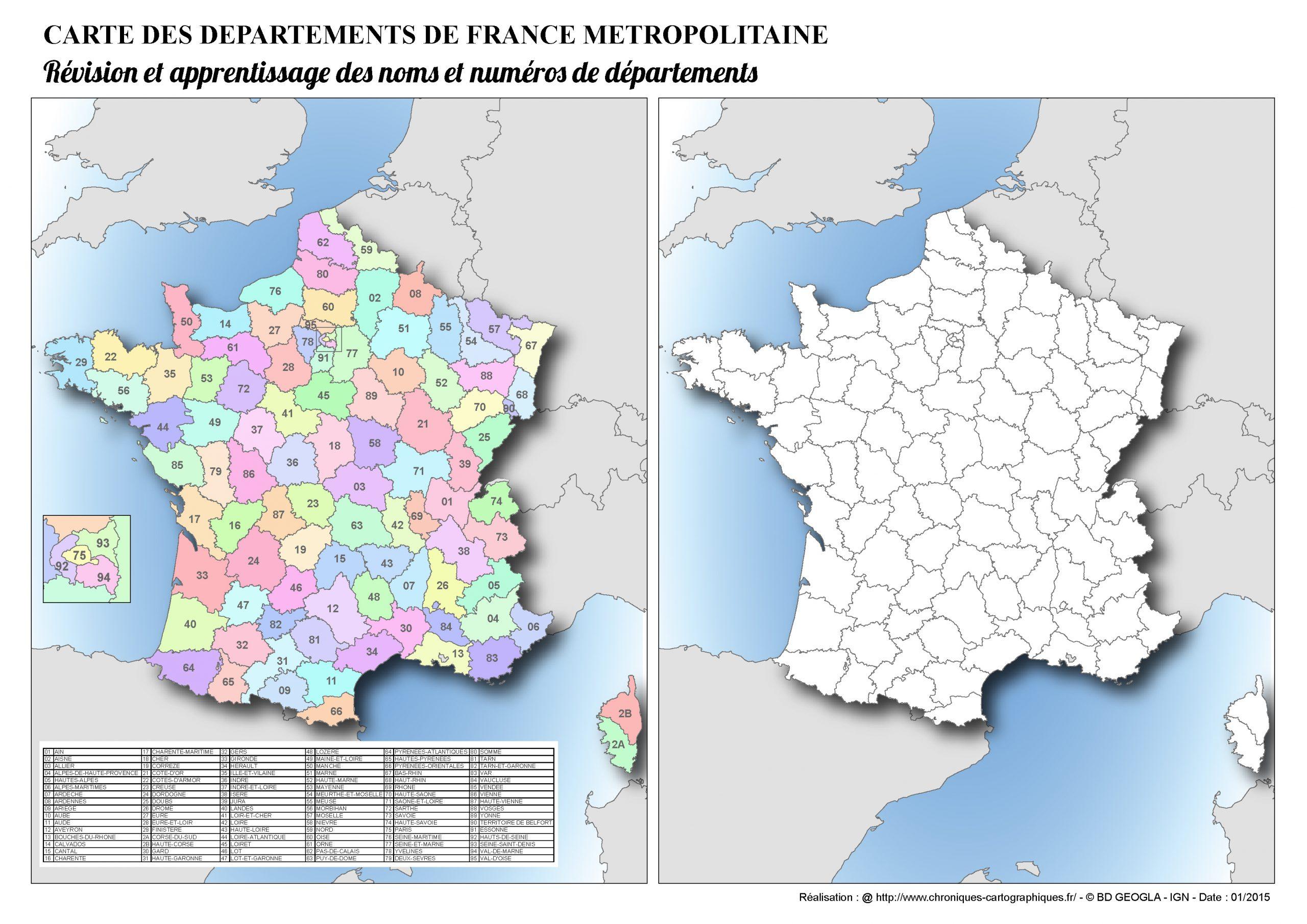 Cartes Muettes De La France À Imprimer - Chroniques intérieur Carte De France Avec Les Départements