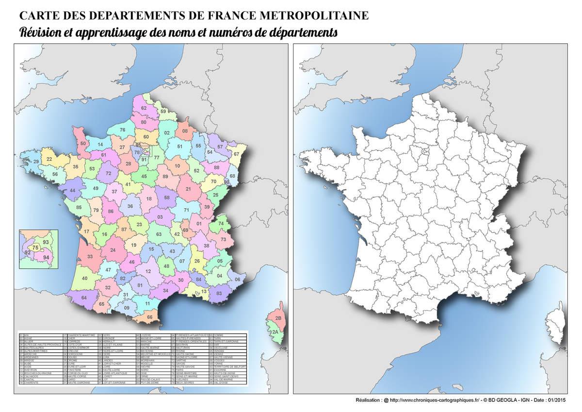 Cartes Muettes De La France À Imprimer - Chroniques pour Carte De France Numéro Département