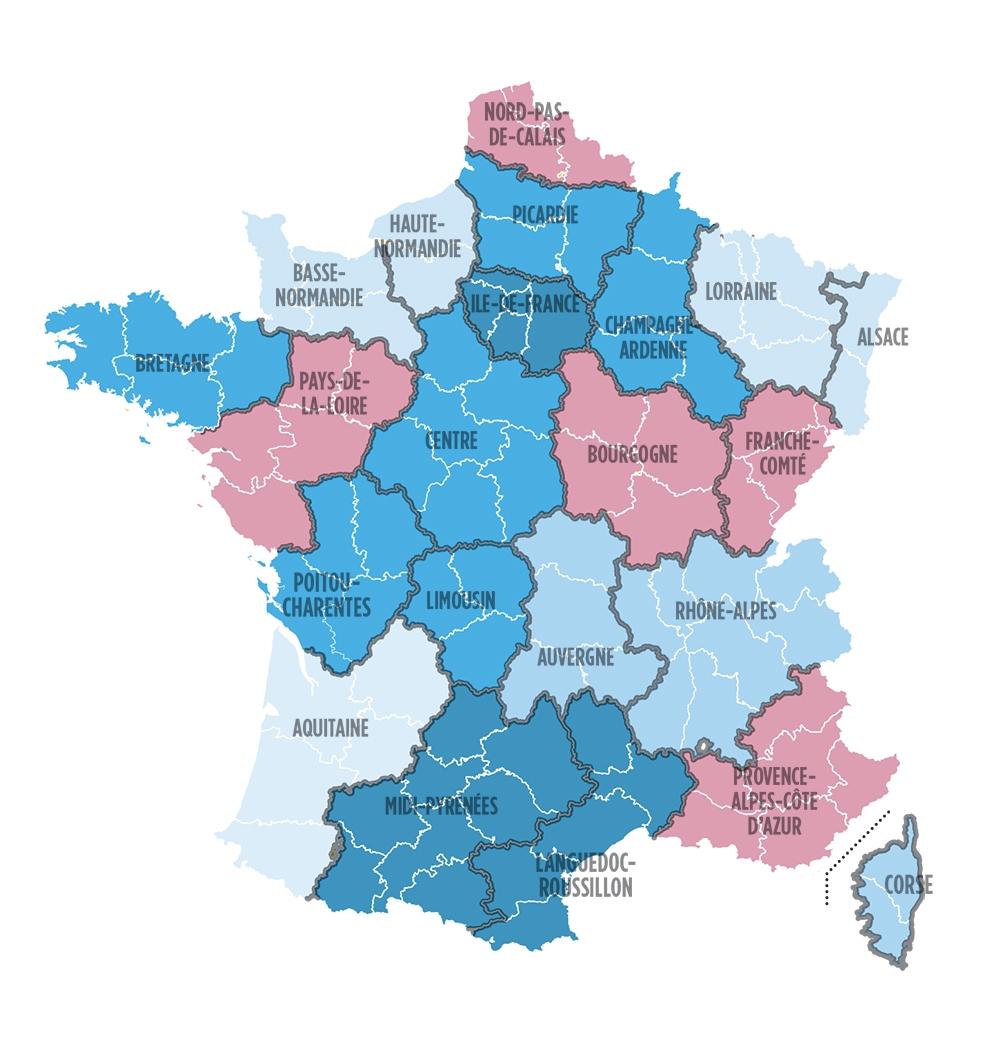 Cartes. Nouvelles Régions : Limousin, Pays De La Loire Ce serapportantà Les Nouvelles Régions De France Et Leurs Départements