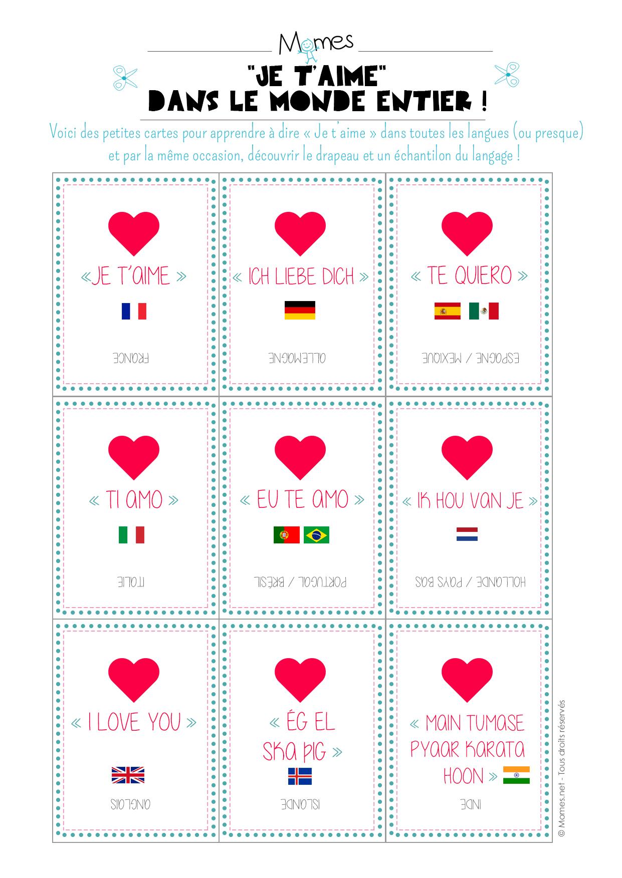 """Cartes-Quiz """"je T'aime"""" Dans Toutes Les Langues - Momes intérieur Quizz Pour Maternelle"""