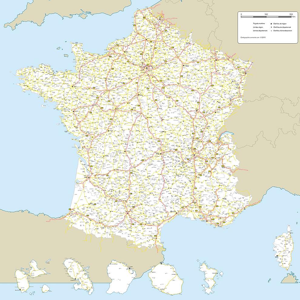 Cartes Vectorielles France tout Carte De France Grand Format