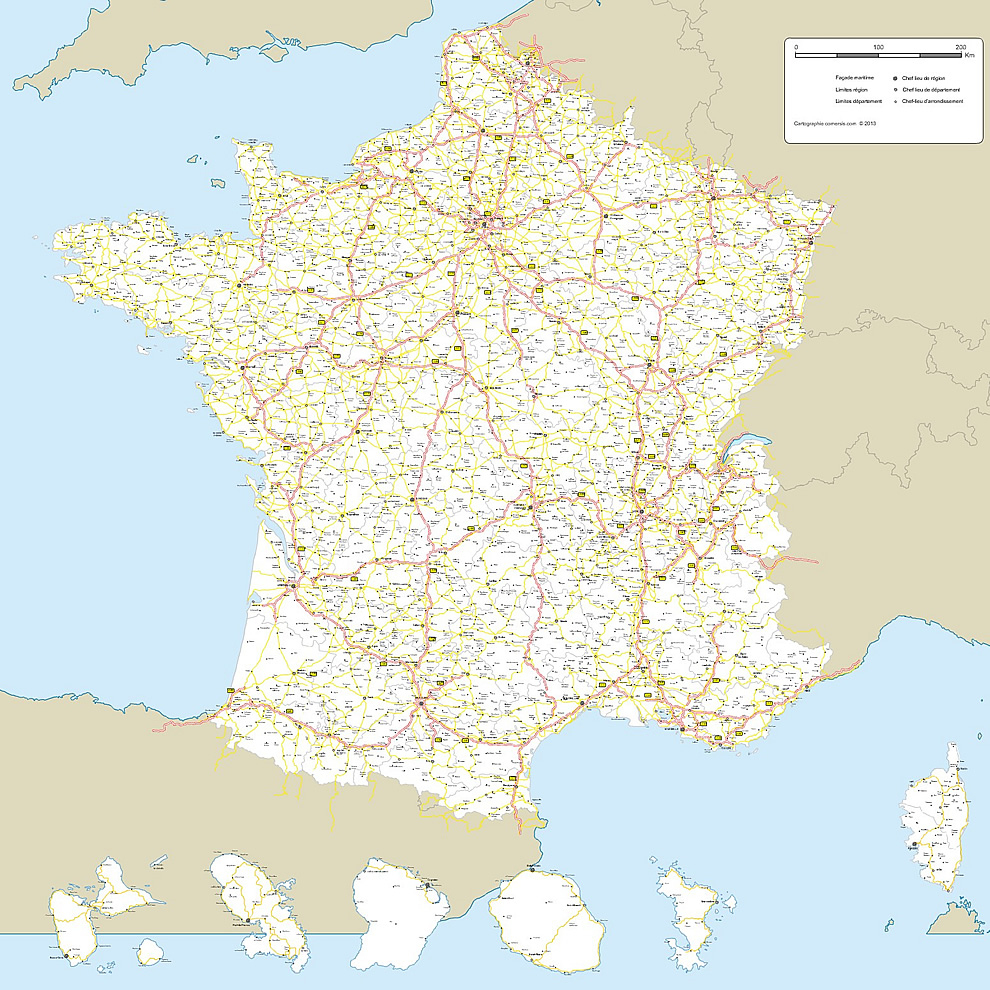 Cartes Vectorielles France tout Carte De La France Avec Ville