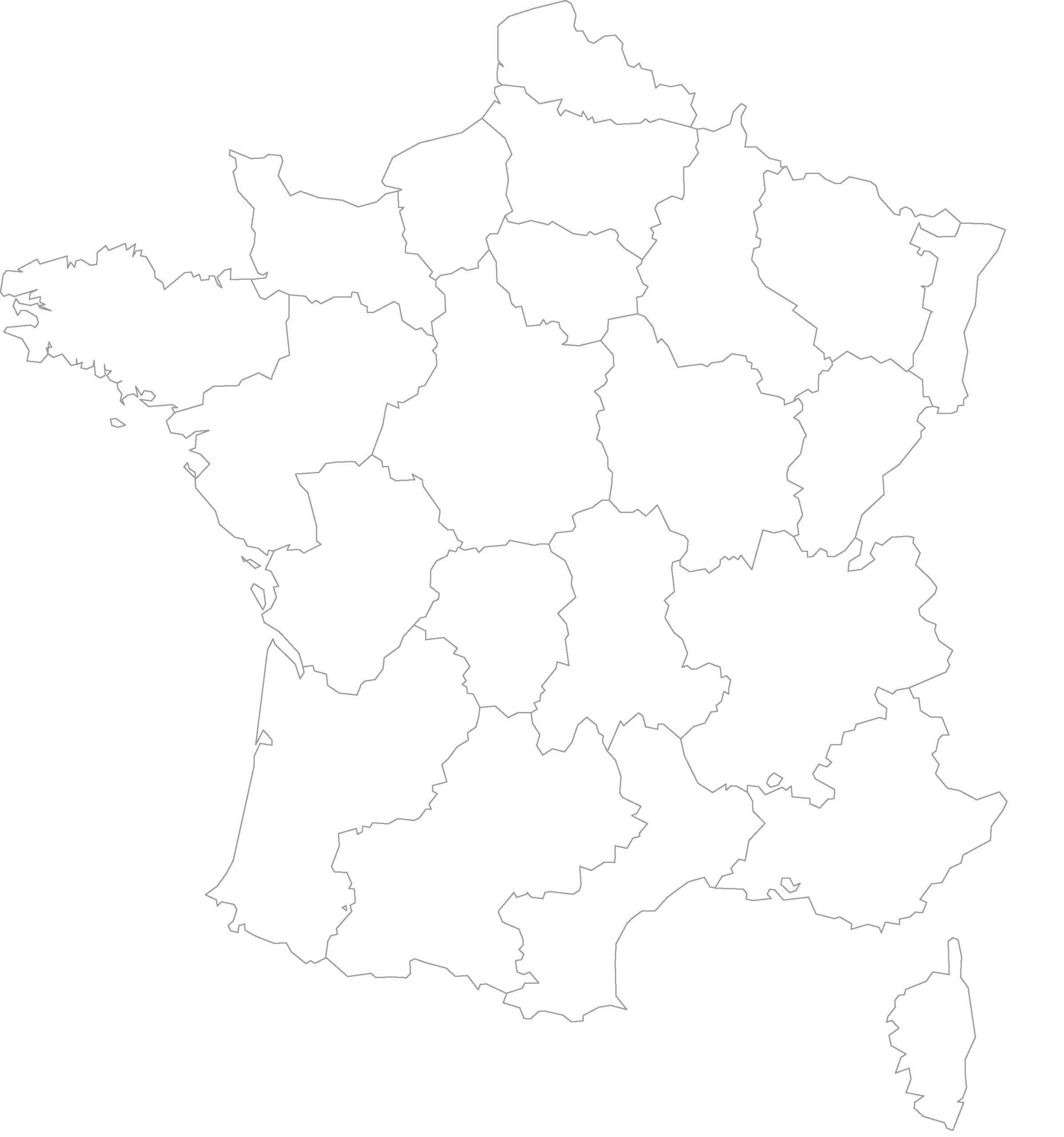 Cartes Vierges De La France À Imprimer - Chroniques à Carte Vierge Des Régions De France