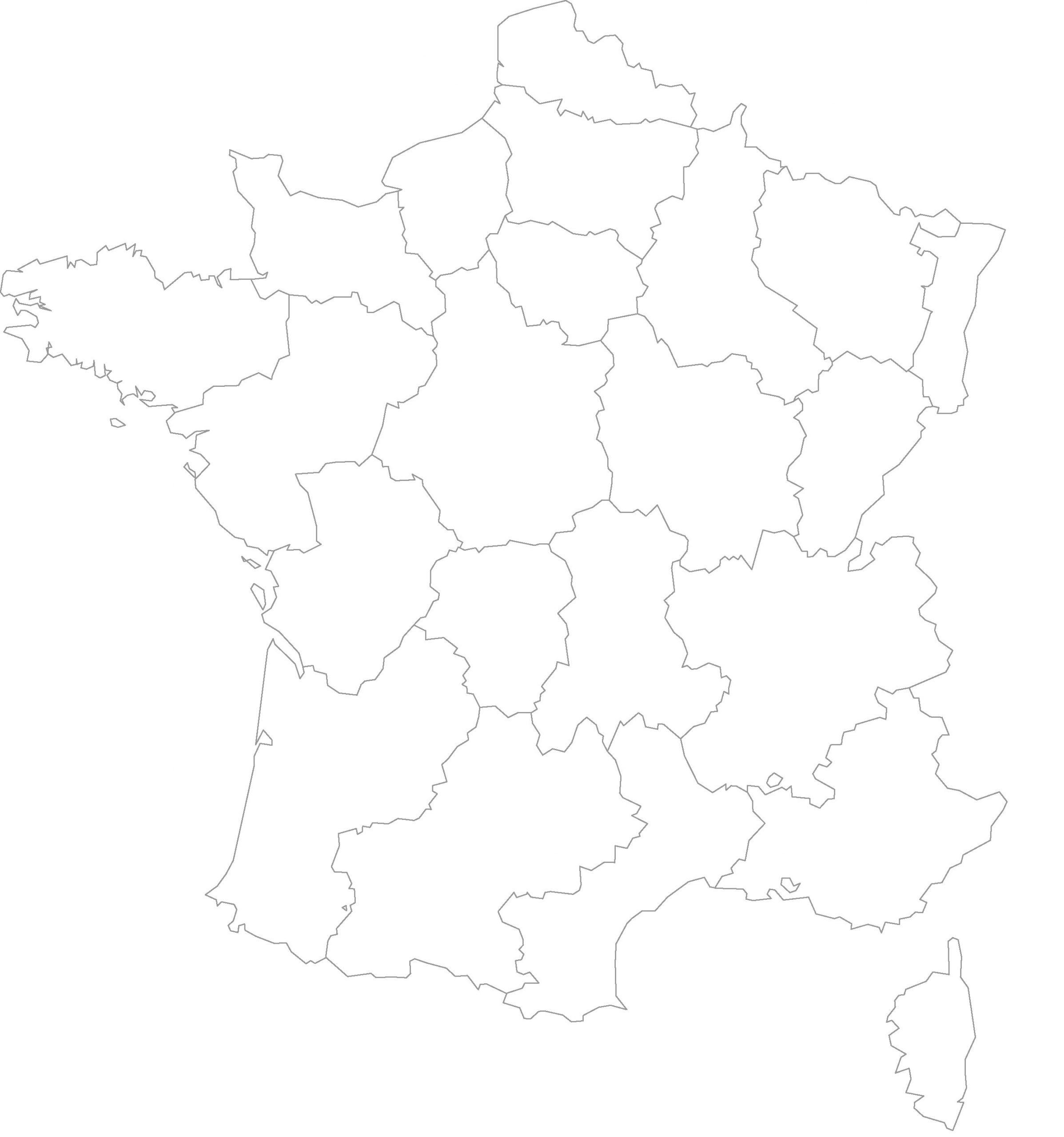 Cartes Vierges De La France À Imprimer - Chroniques dedans Carte Des Régions De France Vierge