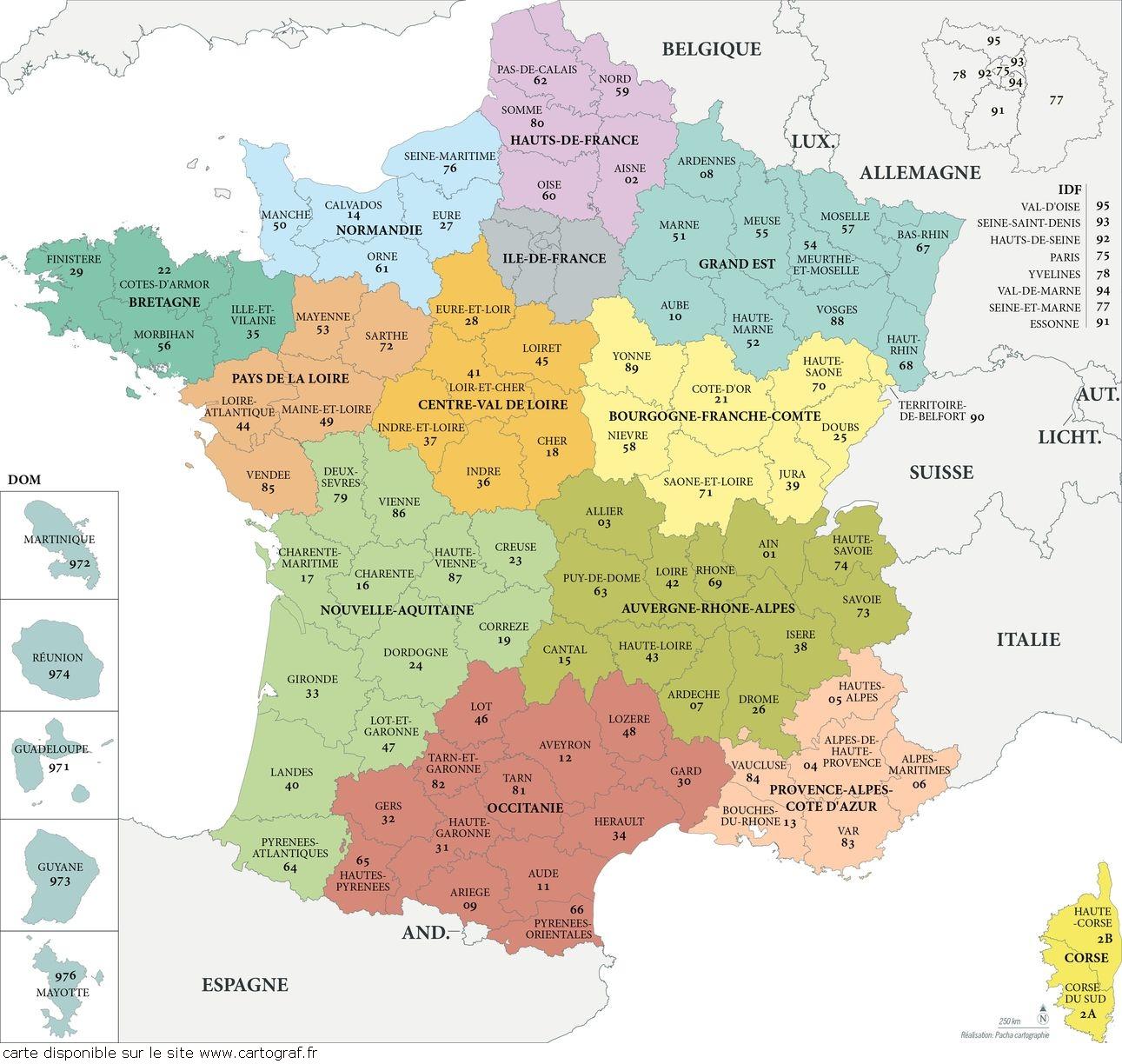 Cartograf.fr : Carte De La France : Page 2 concernant Carte Departement Numero