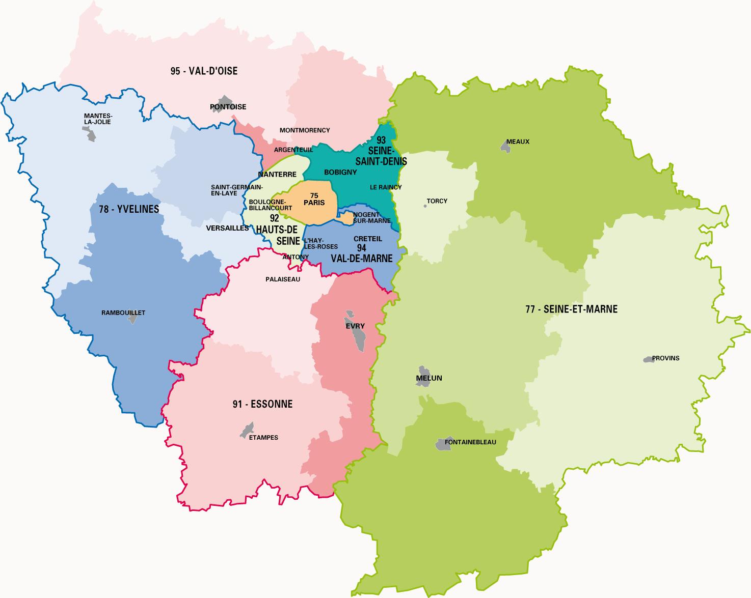 Cartograf.fr : Carte De L'île-De-France : Page 2 intérieur Carte De France Avec Les Départements