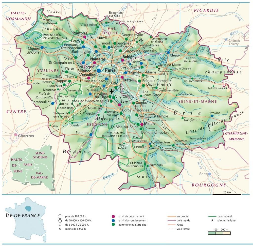 Cartograf.fr : Carte De L'île-De-France pour Carte De France Avec Départements Et Préfectures