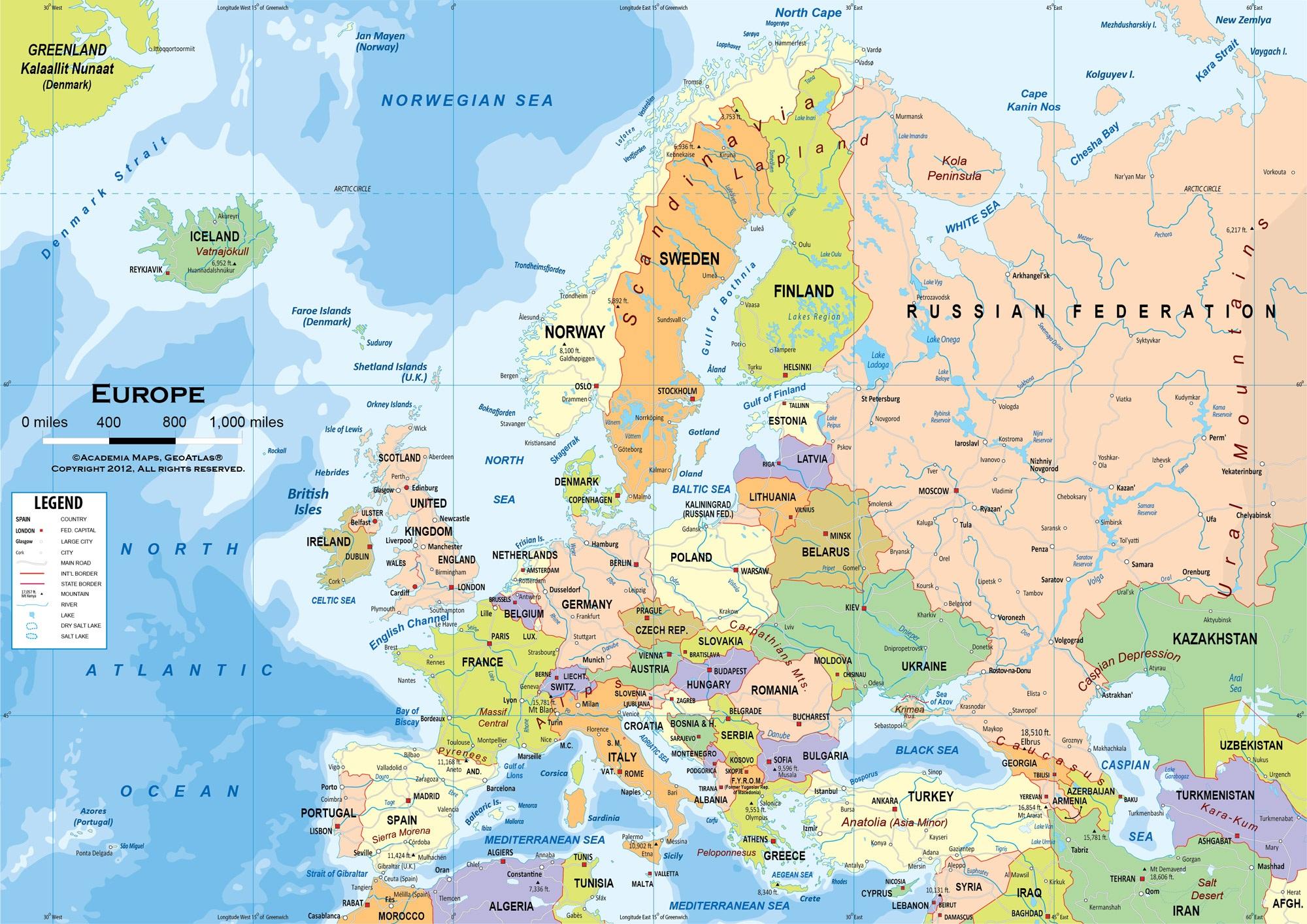 Cartograf.fr : Carte Europe : Page 7 pour Carte D Europe Avec Les Capitales