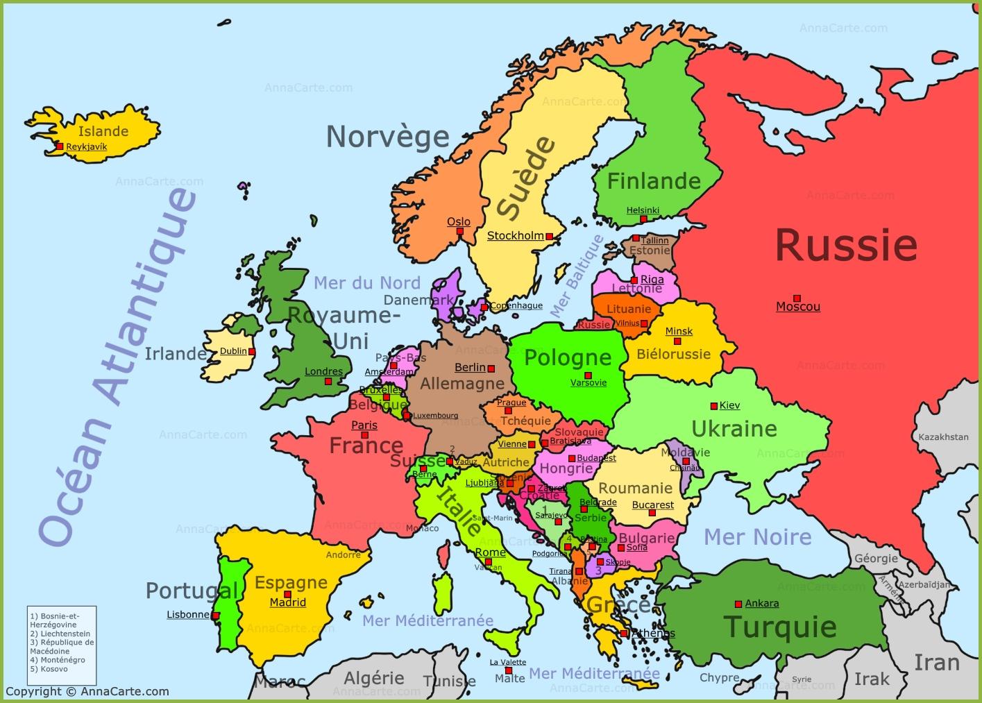 Cartograf.fr : Carte Europe : Page 8 dedans Carte De L Europe Capitales