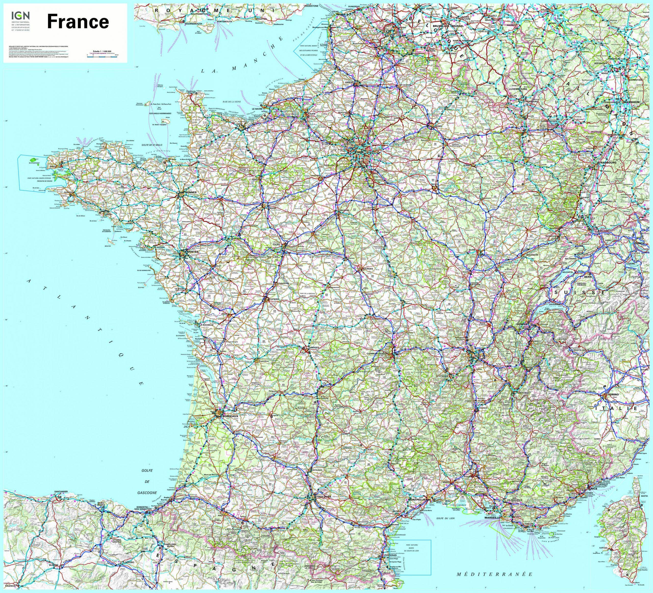 Cartograf.fr : Carte France : Page 3 encequiconcerne Carte De France Avec Département À Imprimer