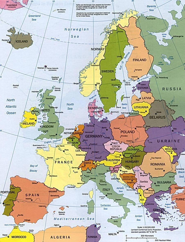 Cartograf.fr : Les Cartes Des Continents : L'europe intérieur Carte Europe Pays Capitales
