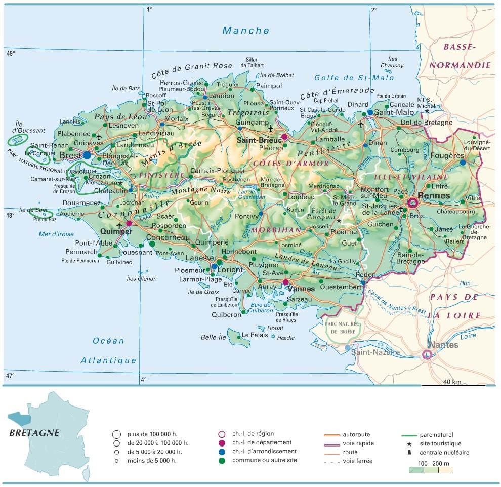 Cartograf.fr : Régions France : La Bretagne - Version Mobile concernant Carte De France Avec Départements Et Préfectures