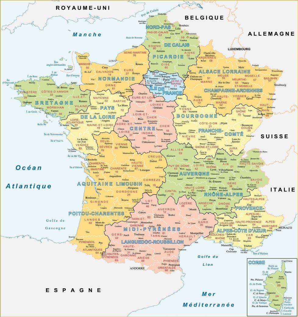 Cartographie De La France : Cartes De France Thématiques avec Decoupage Region France