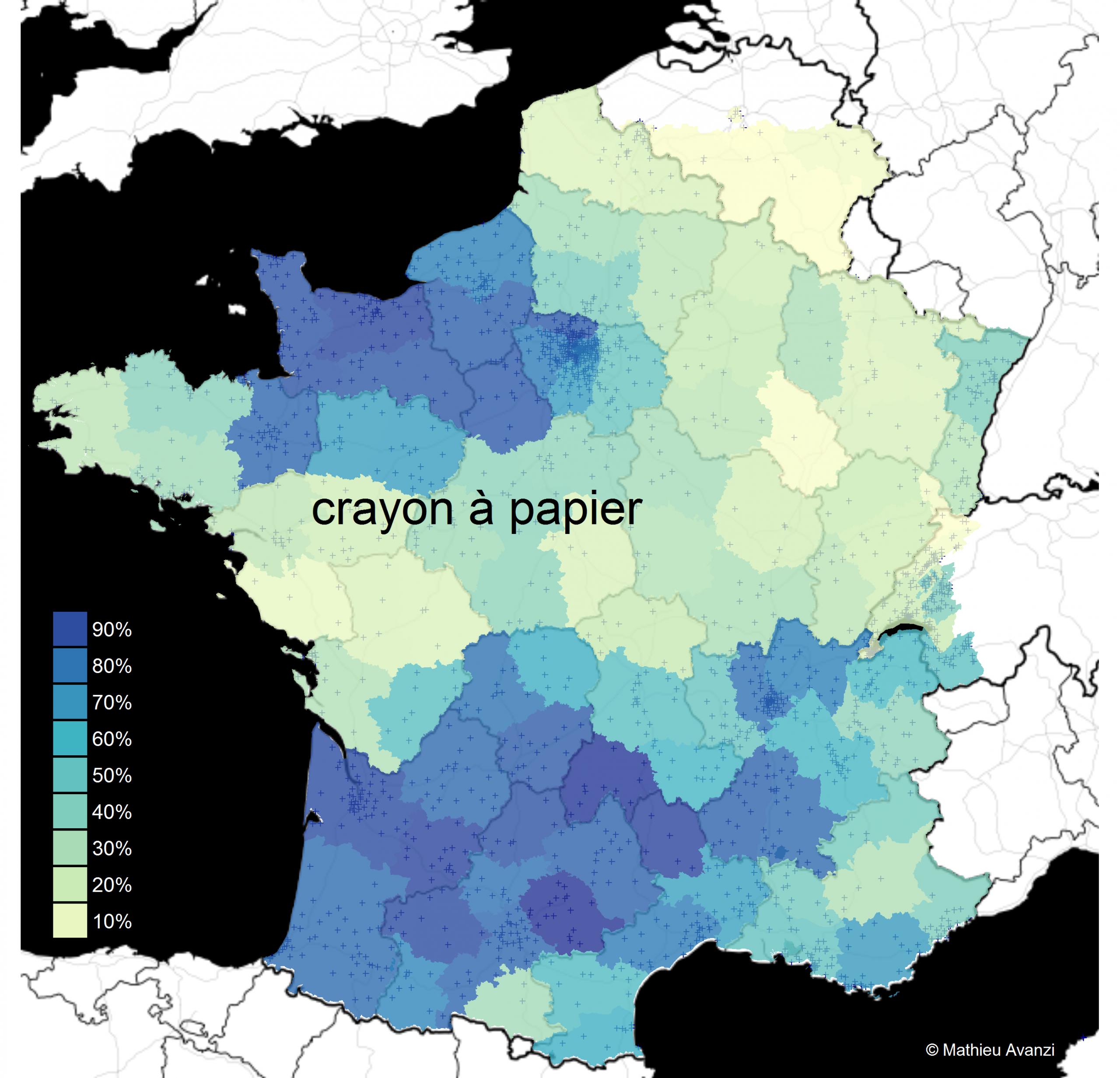 Cartographie Linguistique Du « Crayon À Papier » Et De Ses avec Carte De France Et Ses Régions