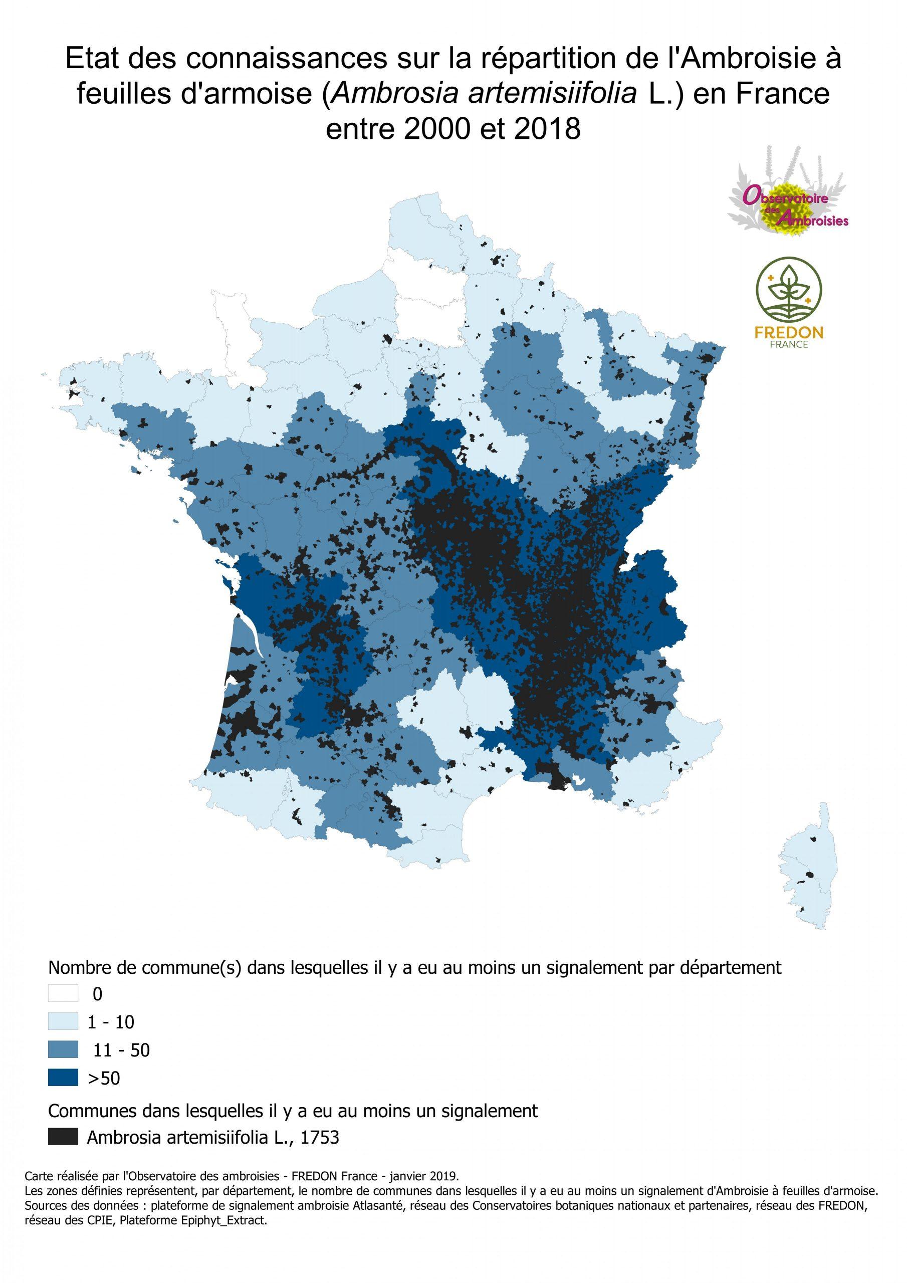 Cartographies De Présence De L'ambroisie En France concernant Nombre De Régions En France 2017