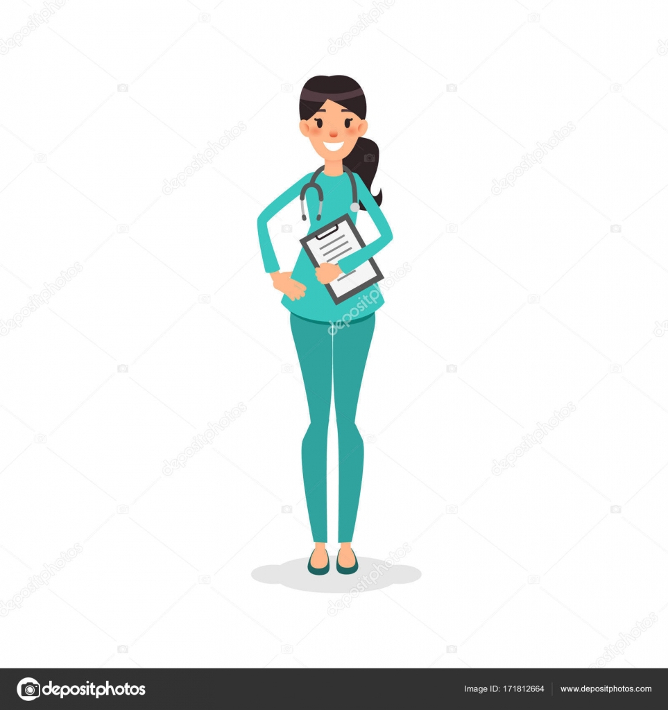 Cartoon Flat Nurse Smiling. Young Women Doctor With pour Stéthoscope Dessin