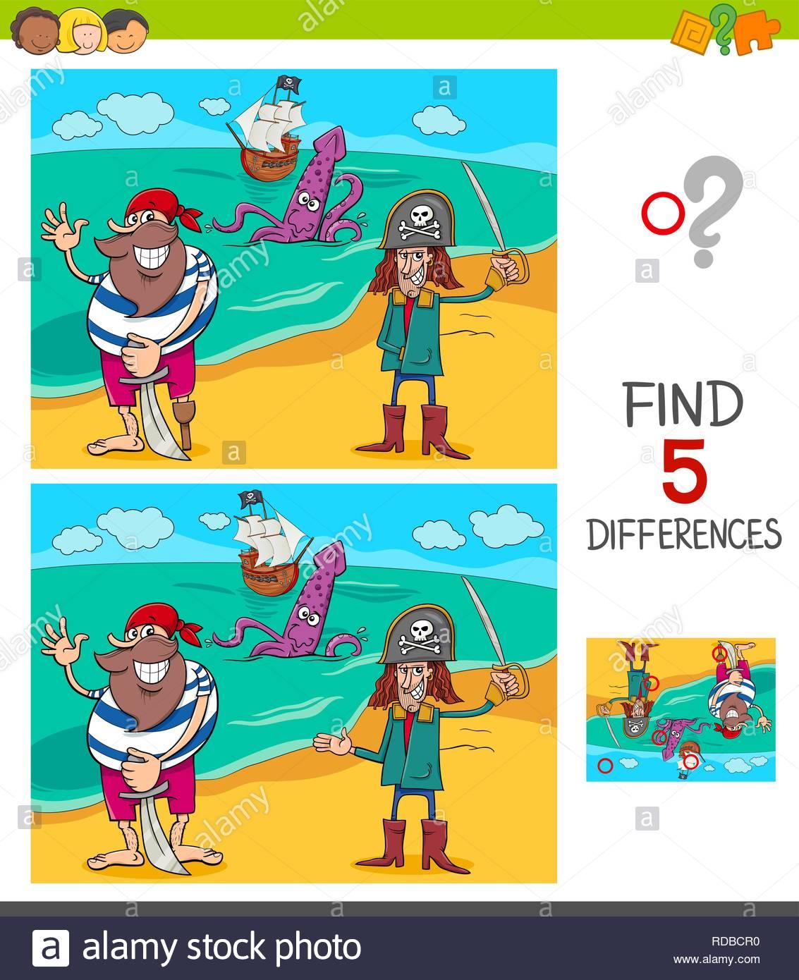 Cartoon Illustration De Trouver Cinq Différences Entre Les serapportantà Les 5 Differences