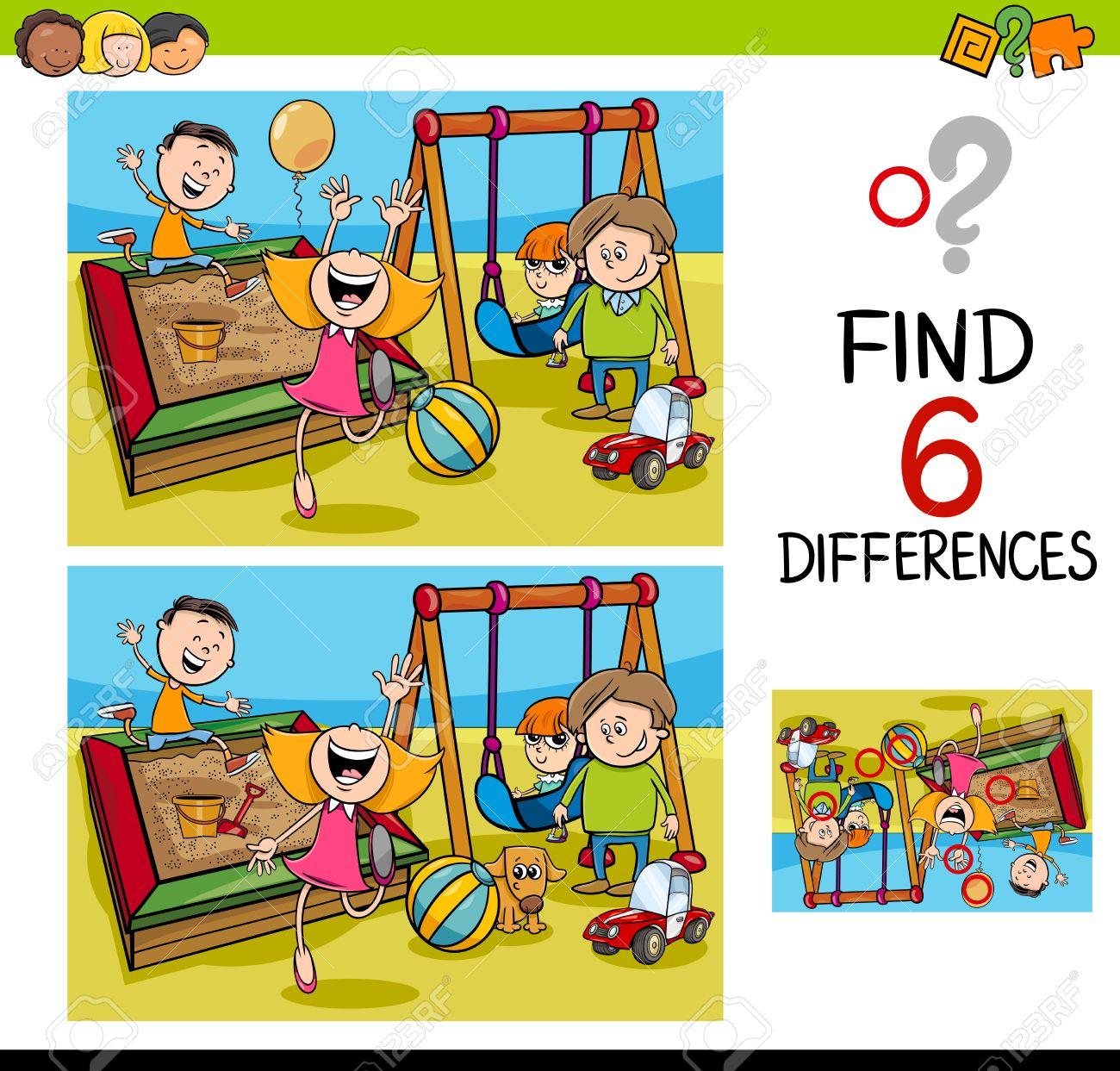Cartoon Illustration De Trouver La Différence D'activités Éducatives Pour  Les Enfants Avec Les Enfants Sur Playground destiné Trouver Les Difference