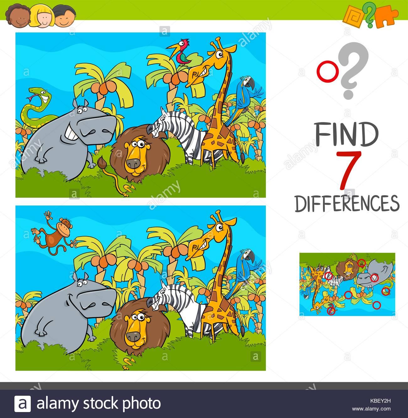 Cartoon Illustration De Trouver Les Différences Entre Les intérieur Trouver Les Difference