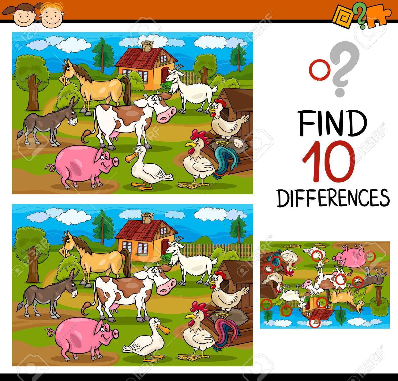 Cartoon Illustration De Trouver Les Différences Jeu Éducatif Pour Les  Enfants D'âge Préscolaire à Jeux Enfant Educatif