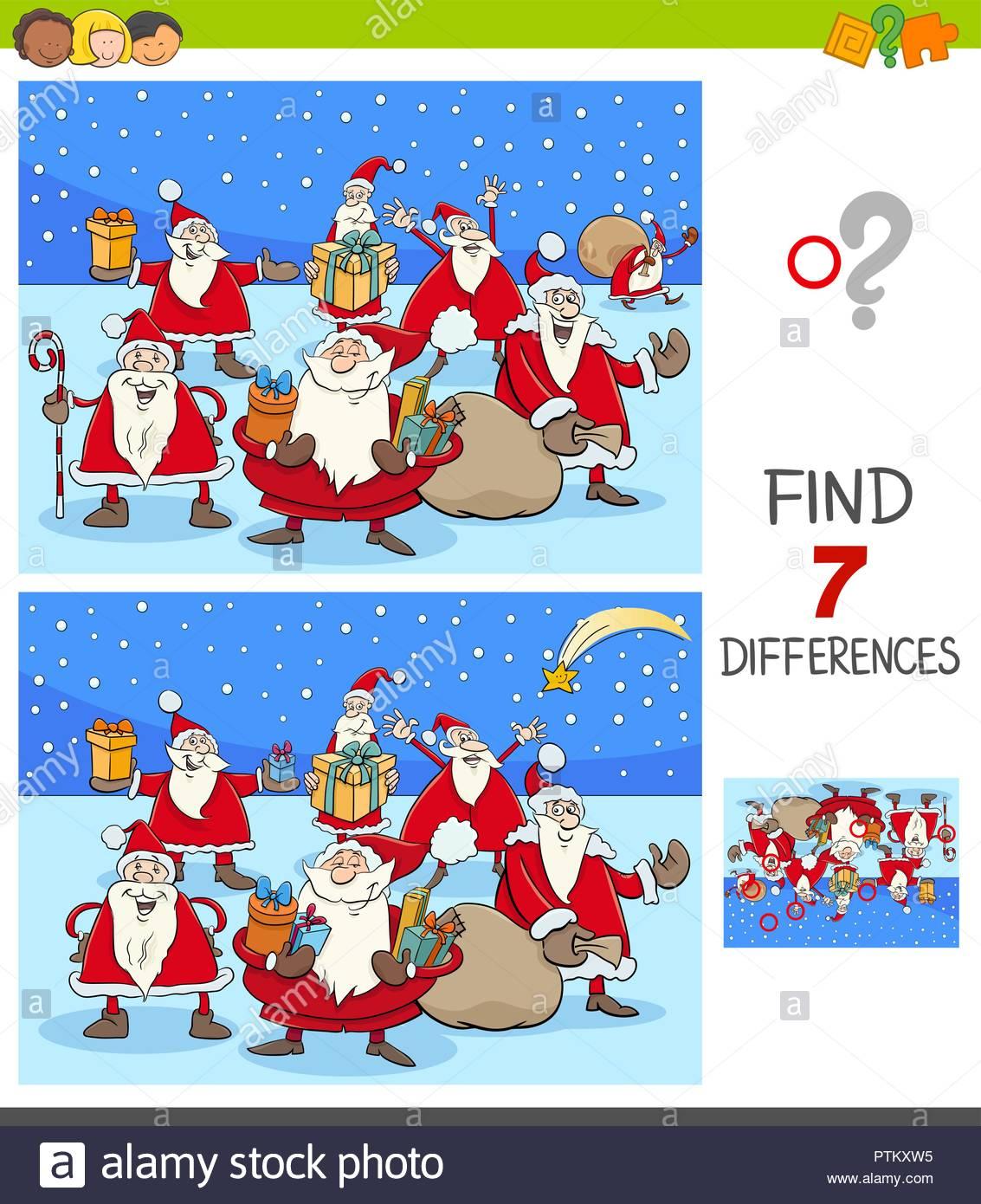Cartoon Illustration De Trouver Sept Différences Entre encequiconcerne Jeux Enfant Educatif