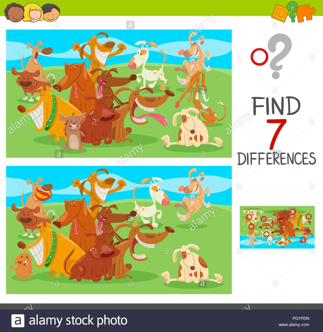 Cartoon Illustration Of Finding Seven Differences Between avec Chercher Les Differences