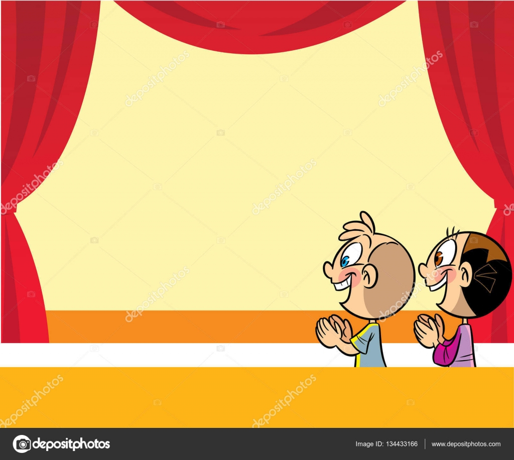 Cartoon Kids In The Theater — Stock Vector © Verzhy #134433166 encequiconcerne Dessin Theatre