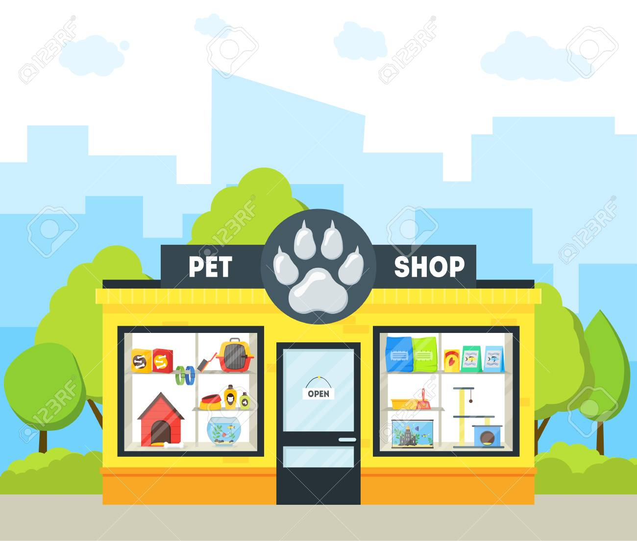 Cartoon Pet Shop Building. Vector concernant Dessin De Petshop