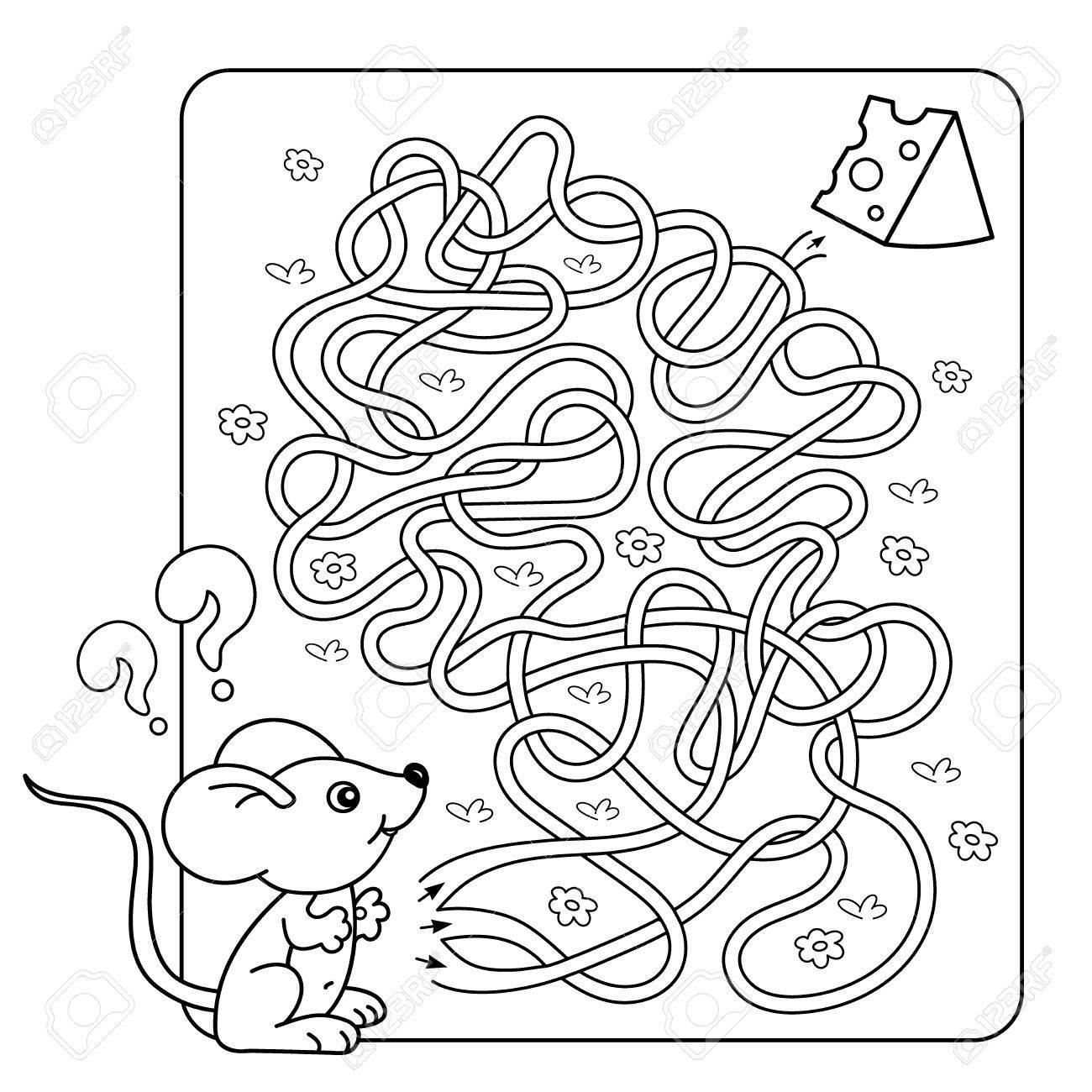 Cartoon Vector Illustration De L'éducation Labyrinte Jeu Pour Enfants D'âge  Préscolaire. Puzzle. Tangled Road. Coloriage Contour De Petite Souris Avec avec Jeux De La Petite Souris