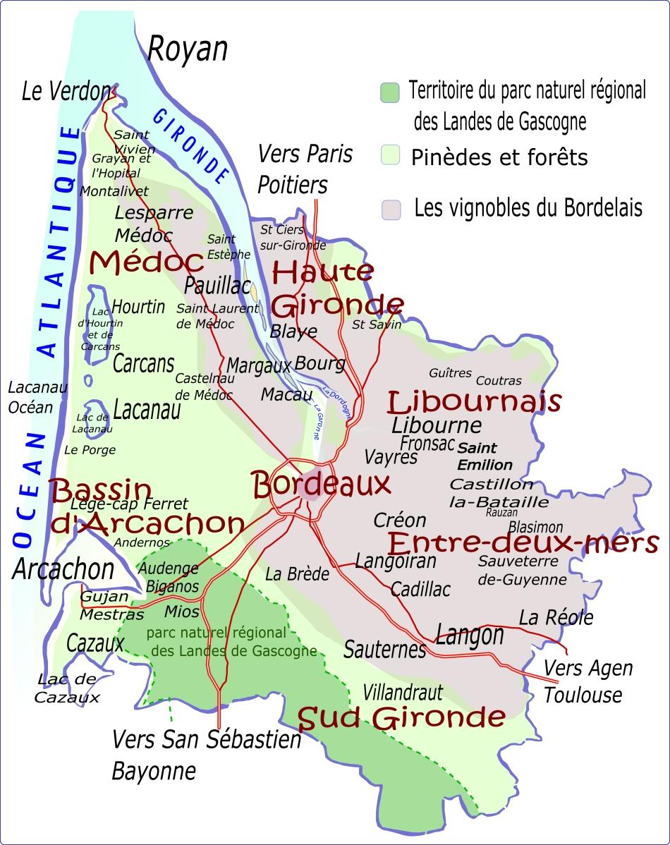 Caruso33 • Carte De La Gironde- Région Nouvelle Aquitaine destiné Carte Region Departement