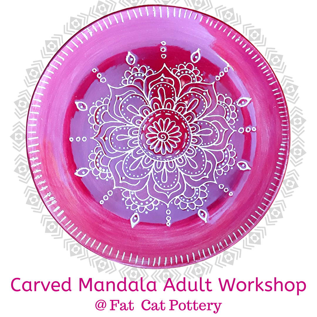 Carved Mandala Adult Painting Workshop | Fat Cat Pottery destiné Mandala Fée