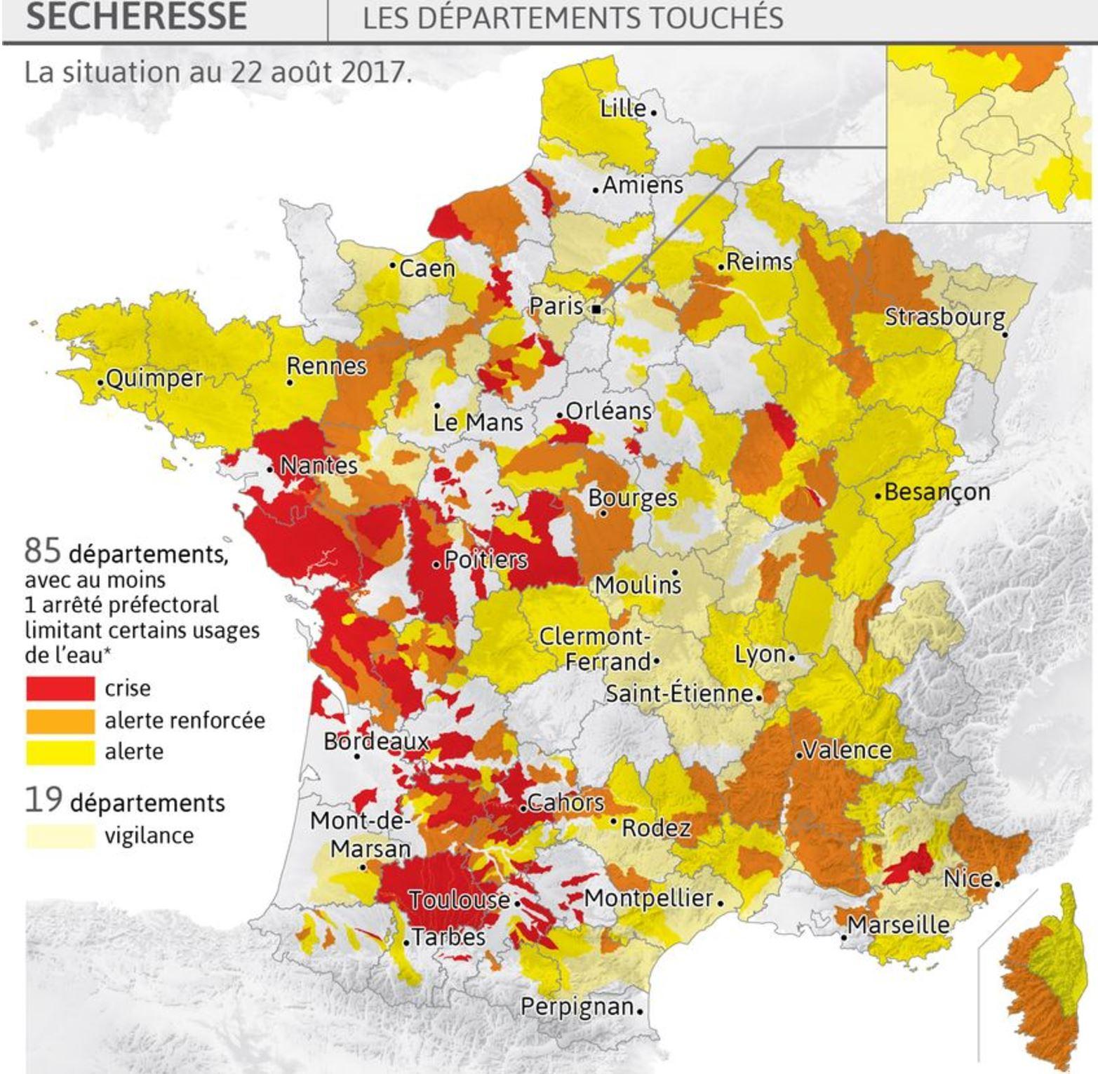 Catastrophes Naturelles  - Forte Sécheresse Dans 85 intérieur Carte Des Départements De France 2017