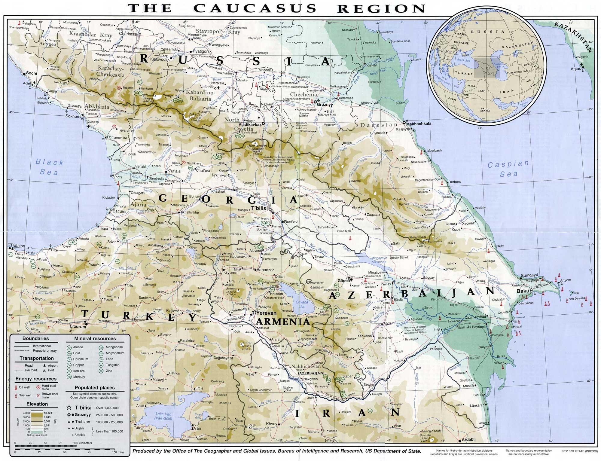 Caucasus - Relief • Map • Populationdata avec Carte Region Departement