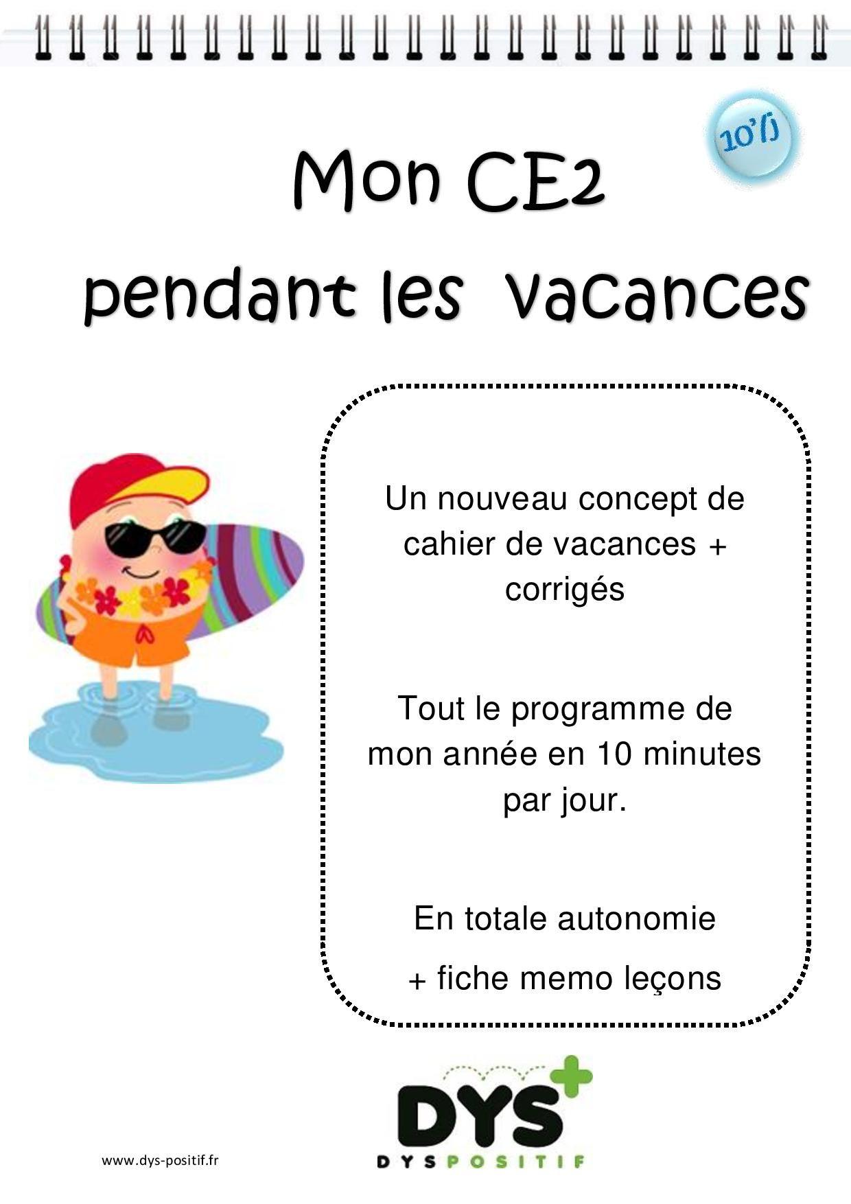 Ce2 - 3Ème Primaire - Cahiers De Vacances Dys À Imprimer intérieur Cahier De Vacances Gratuit En Ligne