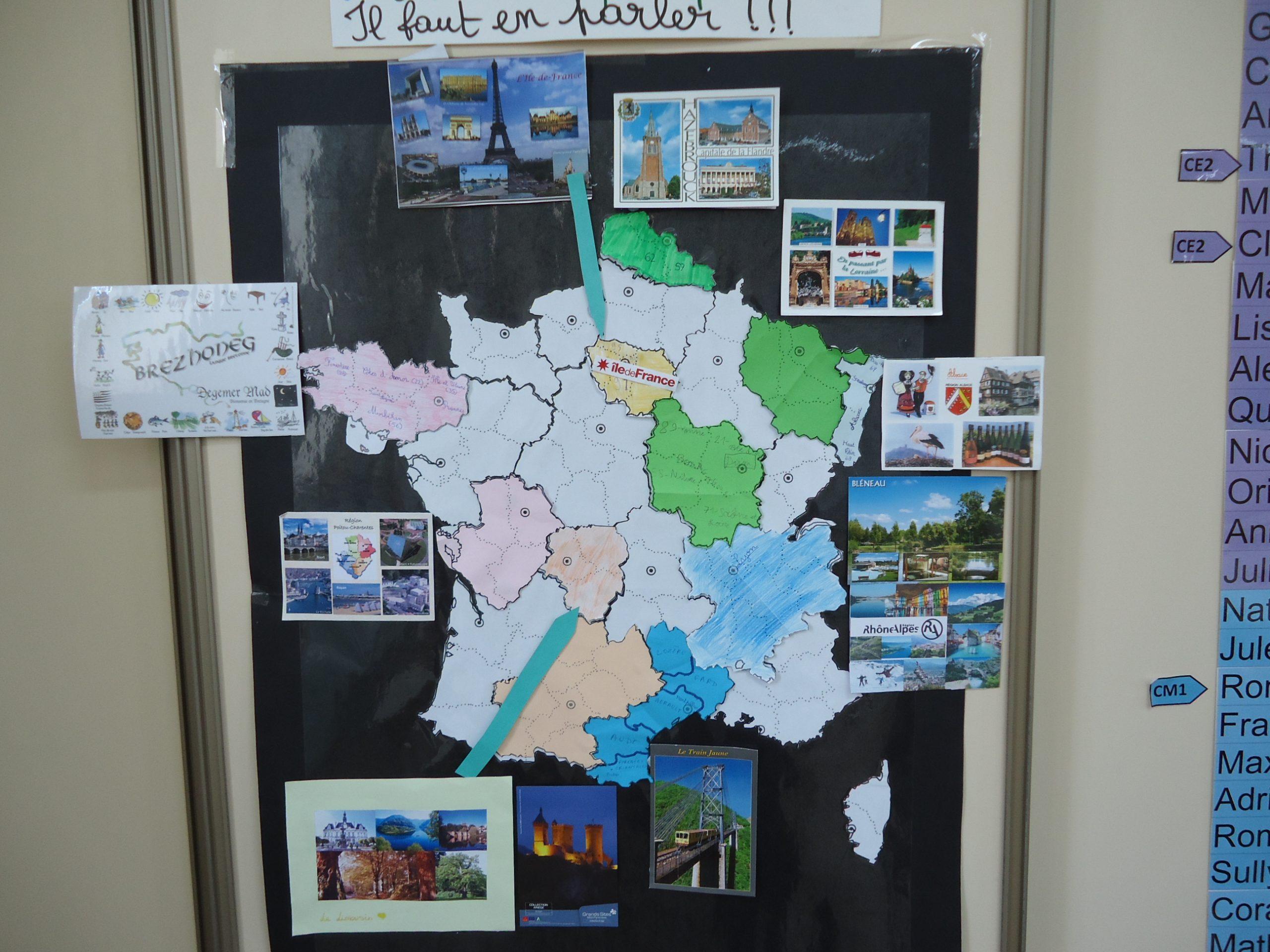 Ce2/cm1 : Le Projet Cartes Postales - Chaillevette pour Carte Des Régions À Compléter
